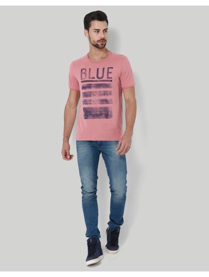 Brick Red Text Print Crew Neck T-Shirt