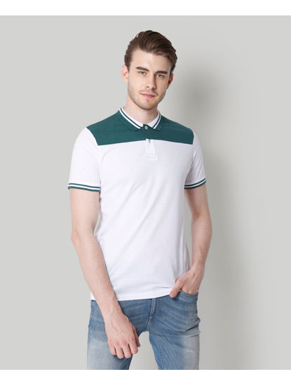 While Colour Blocked Polo T-Shirt