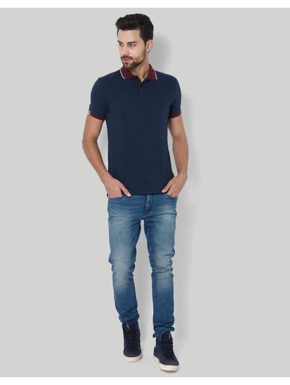 Dark Blue & Brown Polo T-Shirt
