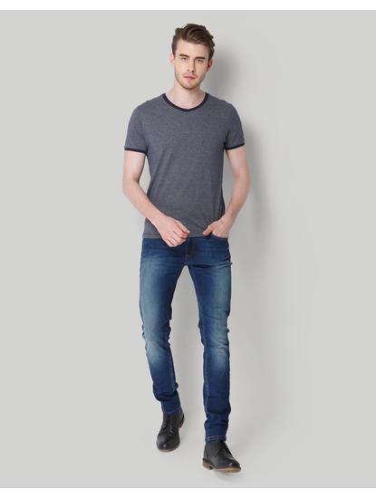 Blue Striped V-Neck T-Shirt