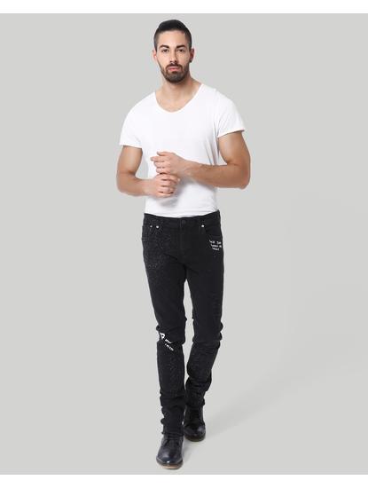 Black Text Print Low Rise Skinny Fit Jeans