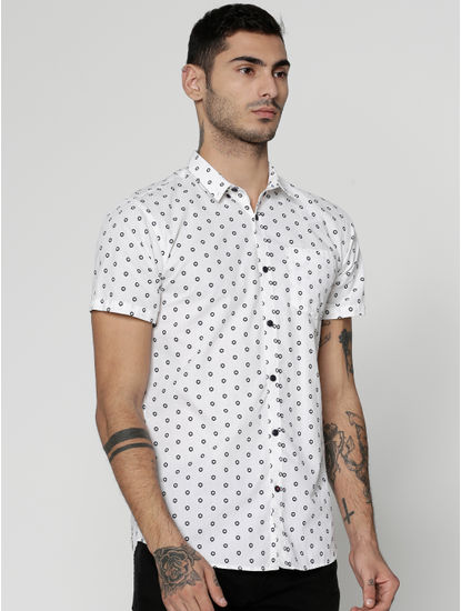 White All Over Dotted Print Slim Fit Short Sleeves Shirt