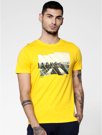 Yellow Graphic Print Slim Fit Crew Neck T-Shirt