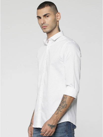 White All Over Dotted Print Slim Fit Full Sleeves Shirt