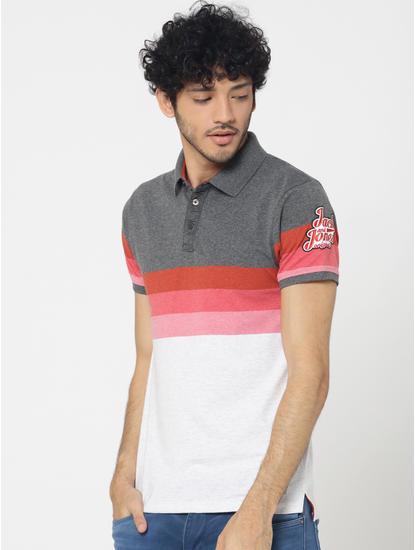 Grey Colourblocked Polo T-Shirt