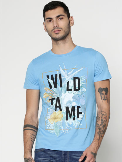Blue Text And Graphic Print Slim Fit Crew Neck T-Shirt