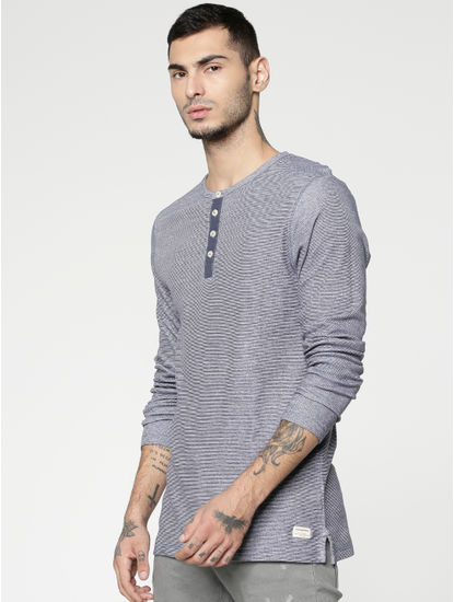 Blue Slim Fit Henley T-shirt