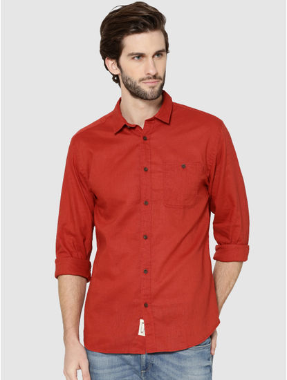 Red One Pocket Full Sleeves Slim Fit Shirt