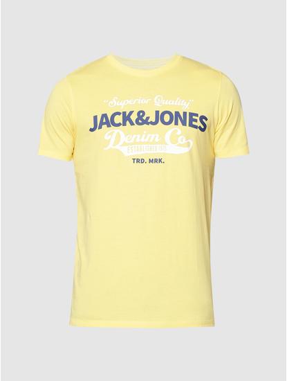 Yellow Text Print Slim Fit Crew Neck T-Shirt