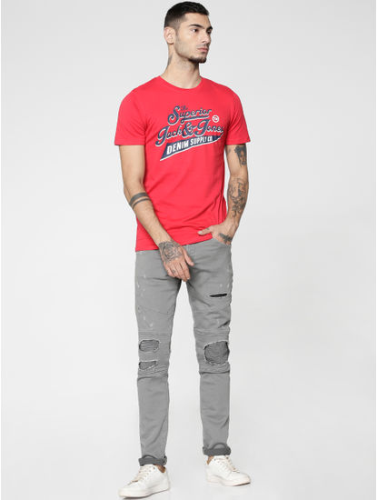 Red Text Print Slim Fit Crew Neck T-Shirt