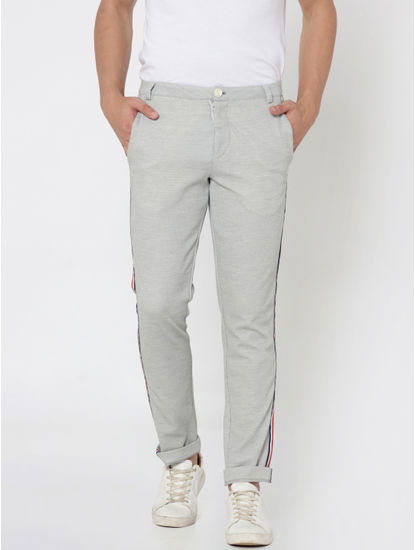 Light Grey Tape Detail Slim Fit Trousers