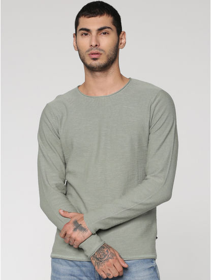 Green Slim Fit Full Sleeves Crew Neck T-Shirt