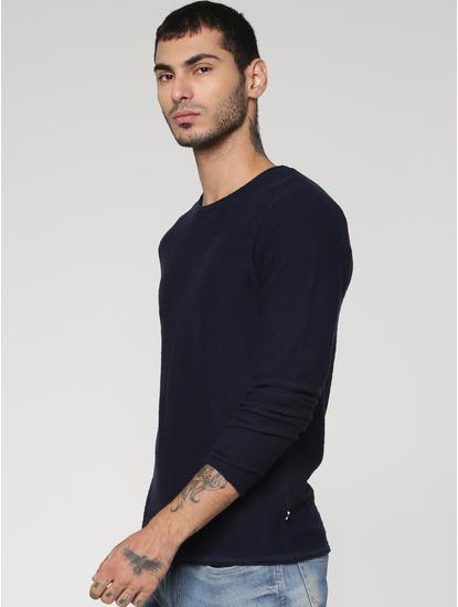 Blue Slim Fit Full Sleeves Crew Neck T-Shirt