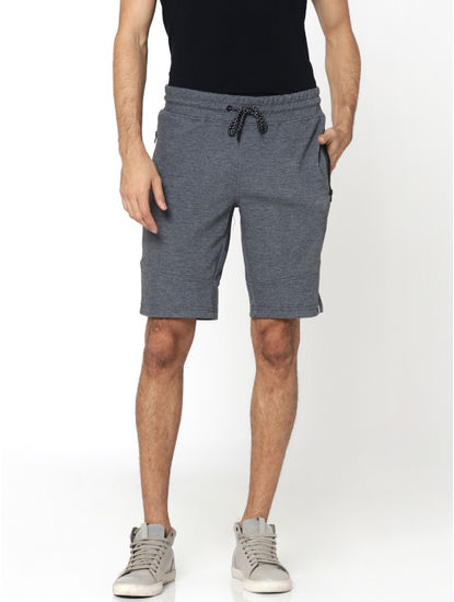 Dark Grey Zip Detail Sweatshorts