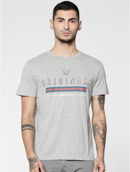 Grey Text Print Slim Fit Crew Neck T-shirt