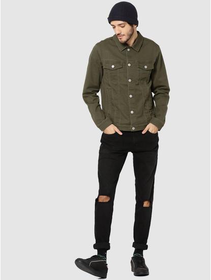 Olive Green Casual Denim Jacket