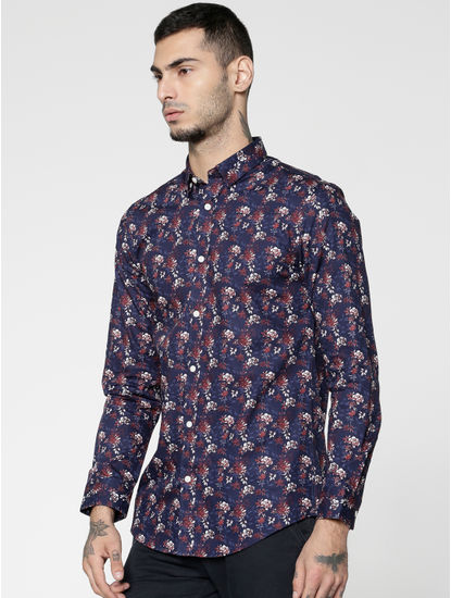 Red All Over Floral Print Slim Fit Full Sleeves Shirt