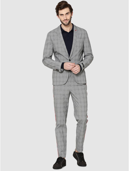 Grey Single Button Slim Fit Check Blazer