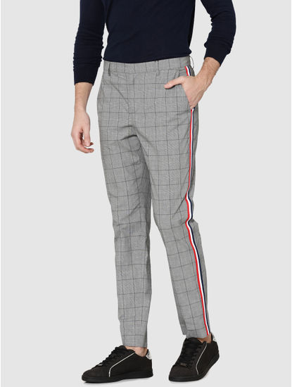 Grey Check Tape Detail Slim Fit Trousers