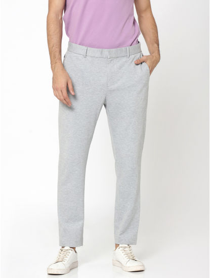 Light Grey Slim Fit Cropped Trousers