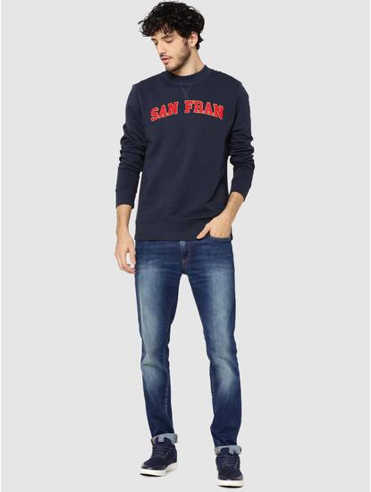 Dark Blue SAN FRAN Print Sweatshirt