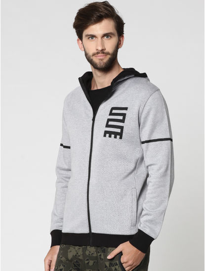 Grey and Black Text Print Hooded Jacket