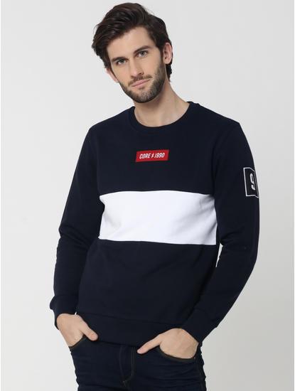 Dark Blue Colourblocked Sweatshirt