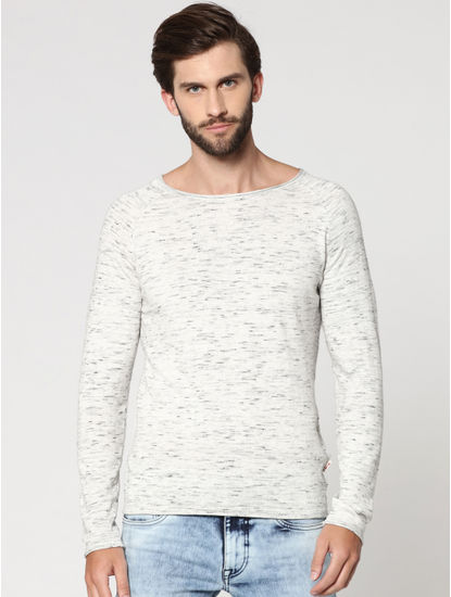 White Textured Round Neck Sweatshirt
