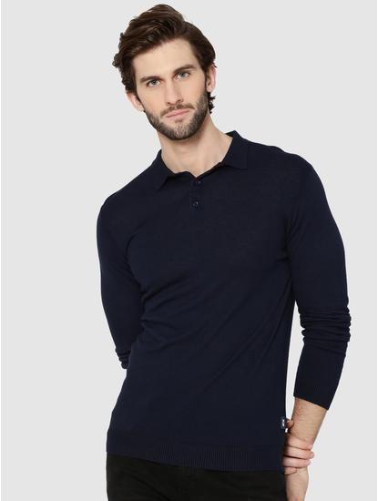 Dark Blue Full Sleeves Knit Polo T-Shirt