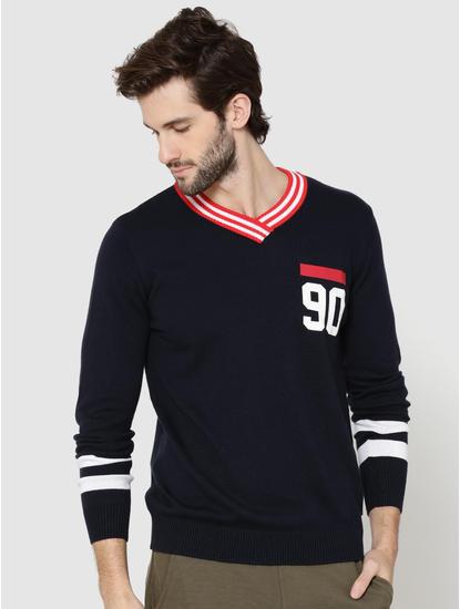 Dark Blue Number Print V-Neck Pullover