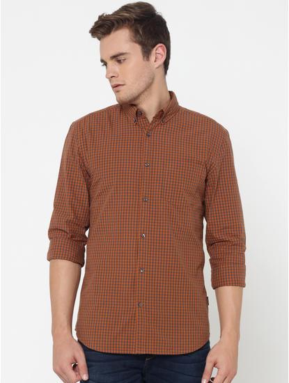 Brown Check Slim Fit Shirt