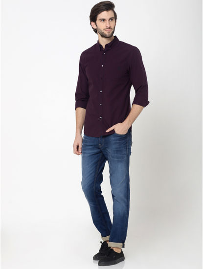 Burgundy Full Sleeves Check Shirt