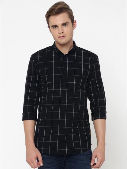 Black Check Slim Fit Shirt