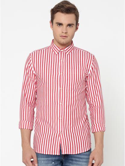 Red Striped Slim Fit Shirt