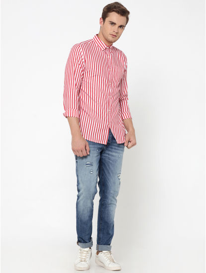 Red Striped Slim Fit Shirt
