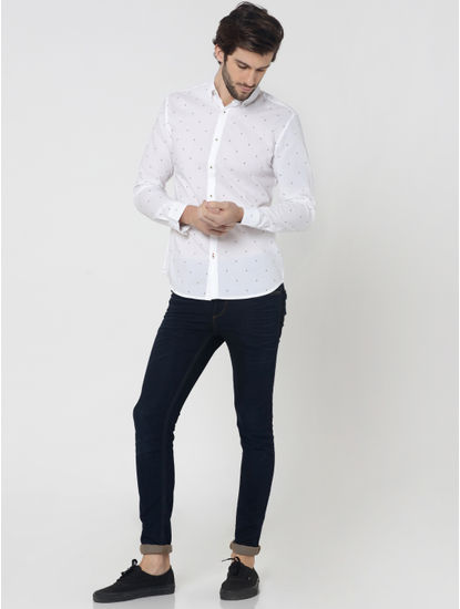 White All Over Print Full Sleeves Linen Shirt