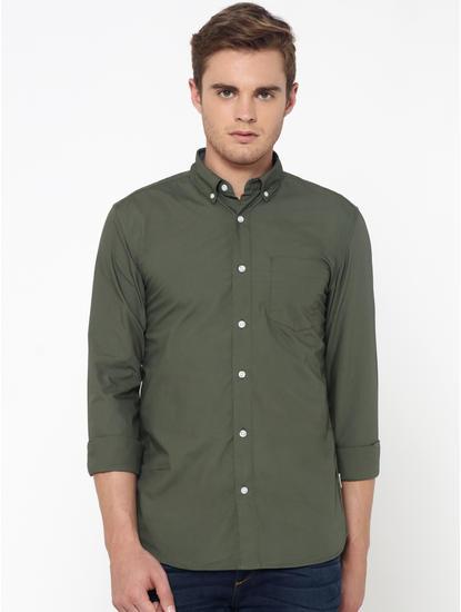 Olive Green One Pocket Slim Fit Shirt