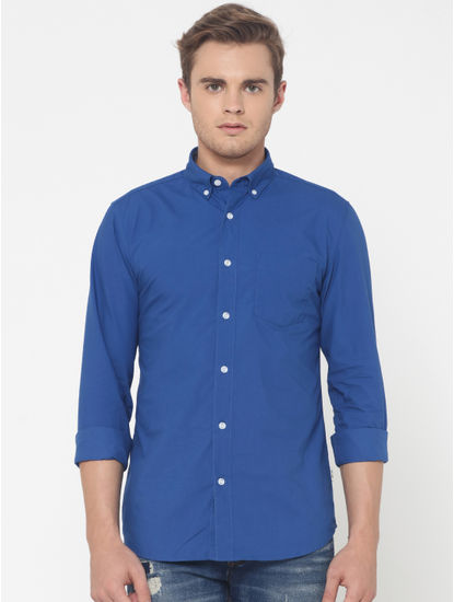 Blue One Pocket Slim Fit Shirt