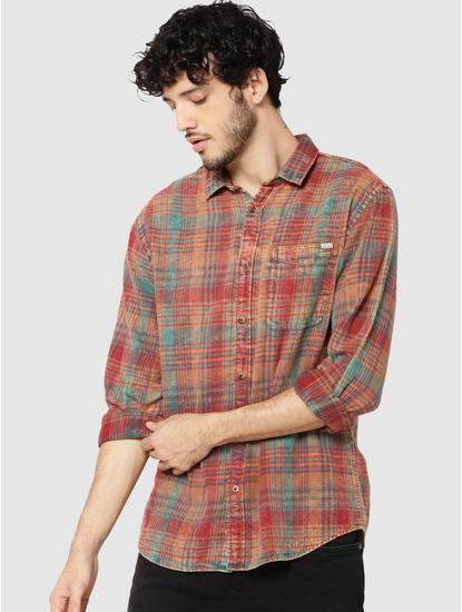 Rust Check Full Sleeves Slim Fit Shirt