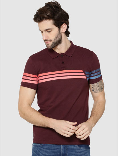 Brown Colour Blocked Striped Polo T-Shirt