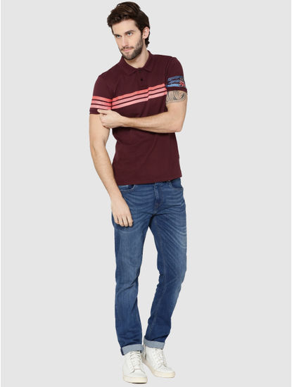 Brown Colour Blocked Striped Polo T-Shirt