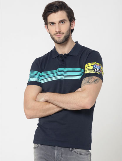 Blue Colourblocked Striped Polo T-Shirt