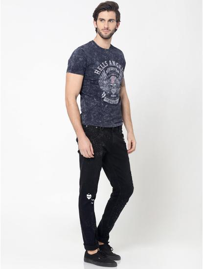 Grey Skull Graphic Print Crew Neck T-Shirt