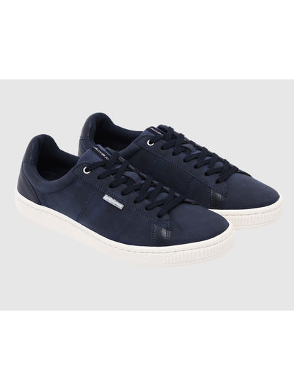 Dark Blue Faux Suede & Canvas Sneakers