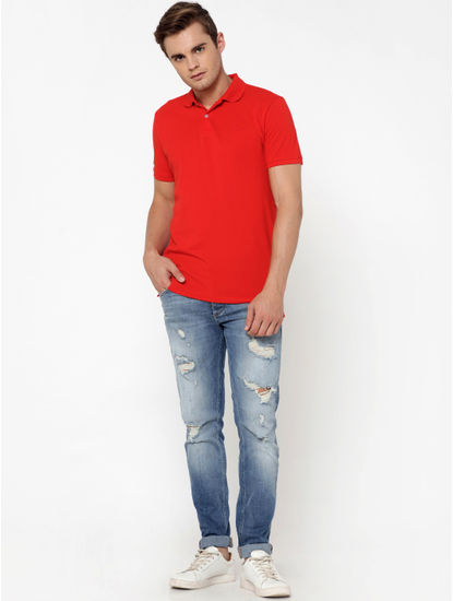 Bright Red Polo Neck T-Shirt