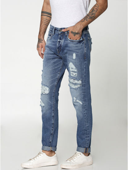Blue Heavy Distressed Erik Anti Fit Jeans