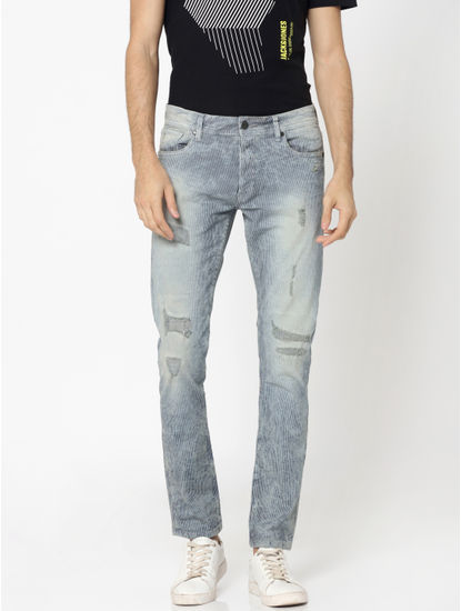 Blue Striped Heavy Distressed Glenn Slim Jeans