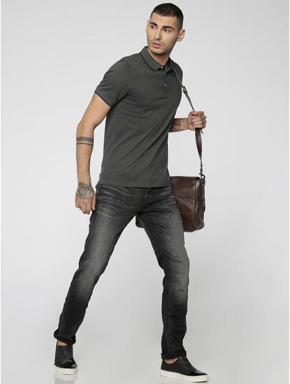 Black Faded Tim Slim Fit Jeans