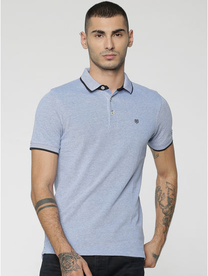 Blue Contrast Collar Piping Polo T-Shirt