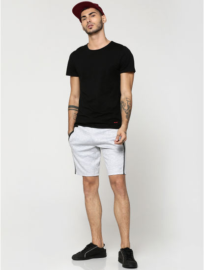 Light Grey with Black Piping Sweatshorts